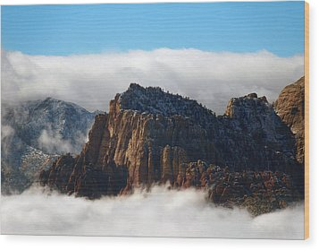 Nestled In The Clouds Wood Print by Alan Socolik
