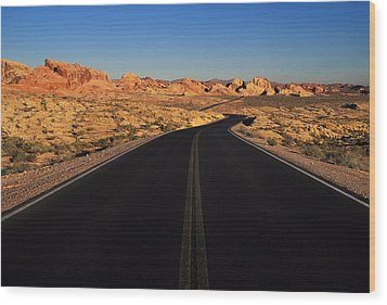 Nevada. Desert Road Wood Print by Anonymous