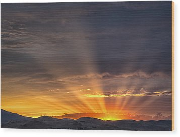 Nevada Sunset Wood Print by Janis Knight