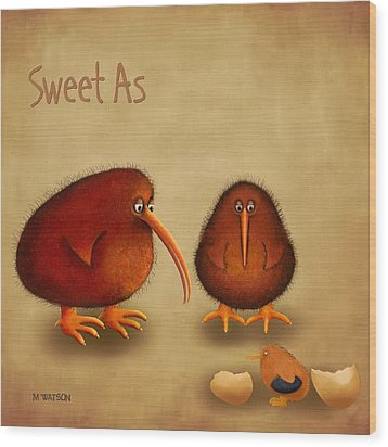 New Arrival. Kiwi Bird - Sweet As - Boy Wood Print by Marlene Watson