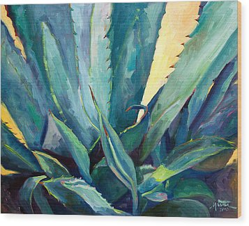 New Blue Agave Wood Print by Athena  Mantle