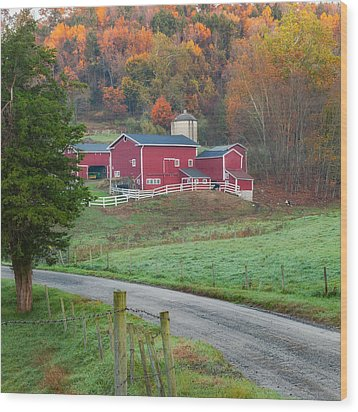 New England Farm Square Wood Print by Bill Wakeley