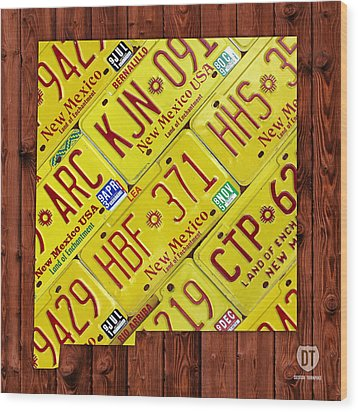 New Mexico State License Plate Map Wood Print by Design Turnpike