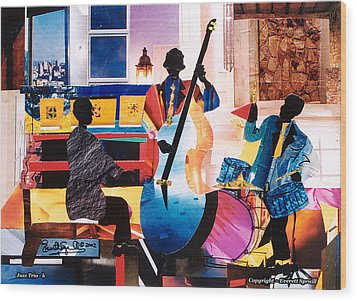 New Orleans Jazz Trio B Wood Print by Everett Spruill