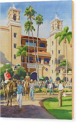 New Paddock At Del Mar Wood Print by Mary Helmreich