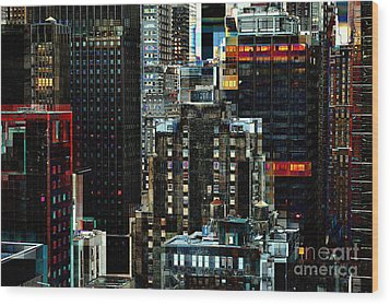 New York At Night - Skyscrapers And Office Windows Wood Print by Miriam Danar