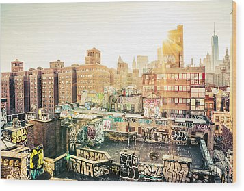 New York City - Graffiti Rooftops Of Chinatown At Sunset Wood Print by Vivienne Gucwa