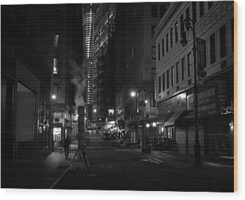 New York City Street - Night Wood Print by Vivienne Gucwa