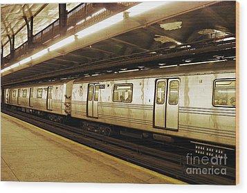 New York City Subway 2 Wood Print by Sarah Loft