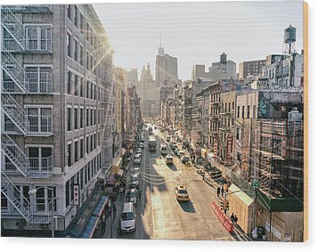 New York City - Sunset Above Chinatown Wood Print by Vivienne Gucwa