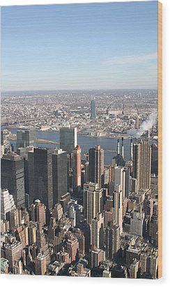 New York City - View From Empire State Building - 121218 Wood Print by DC Photographer