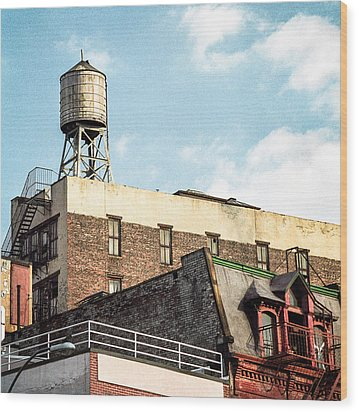 New York City Water Tower 2 Wood Print by Gary Heller