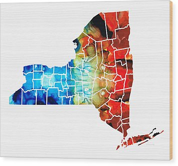 New York - Map By Sharon Cummings Wood Print by Sharon Cummings