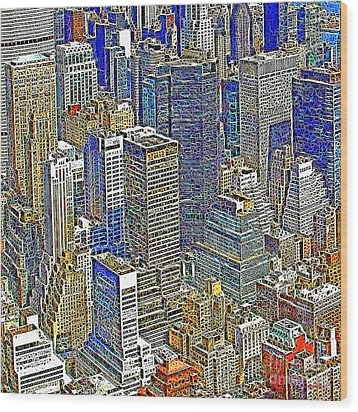 New York Skyline 20130430v5-square Wood Print by Wingsdomain Art and Photography