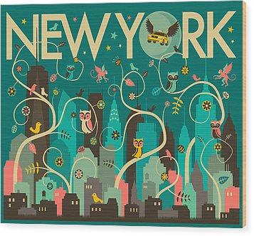 New York Skyline Wood Print by Jazzberry Blue