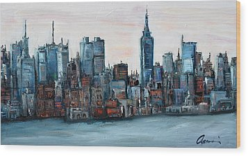 New York Skyline Wood Print by Michael  Accorsi