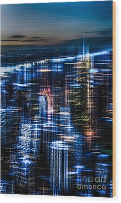 New York - The Night Awakes - Blue I Wood Print by Hannes Cmarits
