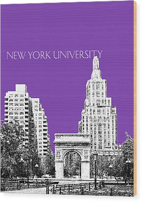 New York University - Washington Square Park - Purple Wood Print by DB Artist