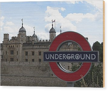 Next Stop Tower Of London Wood Print by Jenny Armitage
