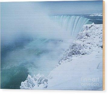 Niagara Falls In Winter Wood Print by Oleksiy Maksymenko