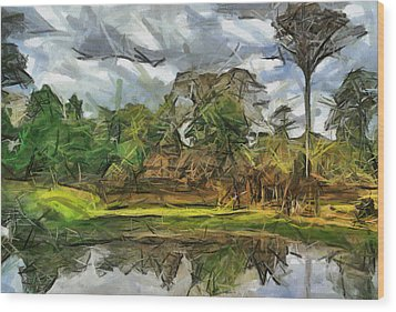 Nice Cambodia Temple Wood Print by Teara Na