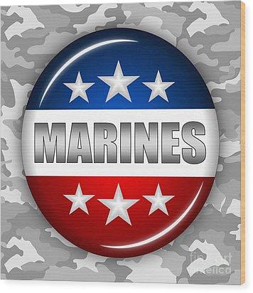 Nice Marines Shield 2 Wood Print by Pamela Johnson