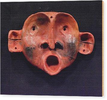 Nico Red Orange And Black Mask Wood Print by Mark M  Mellon