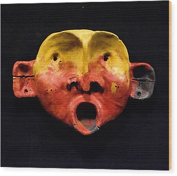 Nico Yellow And Red Mask Wood Print by Mark M  Mellon