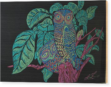 Night Owls Wood Print by Lorinda Fore