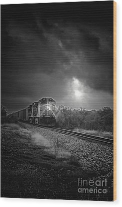 Night Train Wood Print by Robert Frederick
