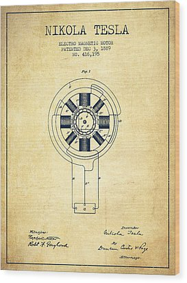 Nikola Tesla Patent Drawing From 1889 - Vintage Wood Print by Aged Pixel