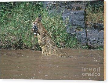 Nile Crocodile Wood Print by Art Wolfe
