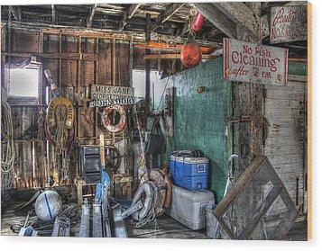 No Fish Cleaning Wood Print by Lynn Jordan