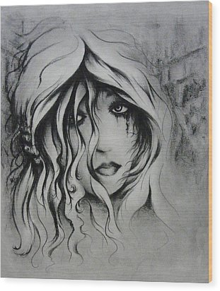 No More Tears Wood Print by Rachel Christine Nowicki