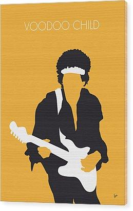 No014 My Jimi Hendrix Minimal Music Poster Wood Print by Chungkong Art