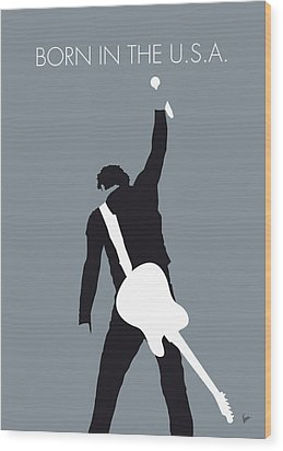 No017 My Bruce Springsteen Minimal Music Poster Wood Print by Chungkong Art