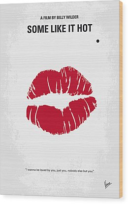 No116 My Some Like It Hot Minimal Movie Poster Wood Print by Chungkong Art