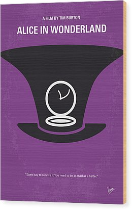 No140 My Alice In Wonderland Minimal Movie Poster Wood Print by Chungkong Art