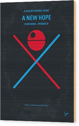 No154 My Star Wars Episode Iv A New Hope Minimal Movie Poster Wood Print by Chungkong Art