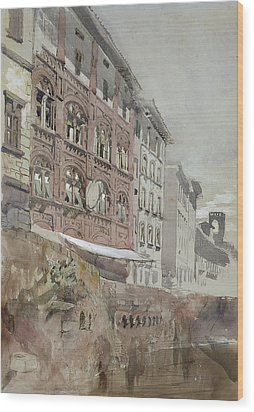 No.1590 Palazzo Agostini, Pisa, 1845 Wood Print by John Ruskin