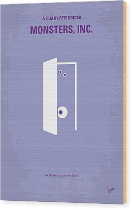 No161 My Monster Inc Minimal Movie Poster Wood Print by Chungkong Art
