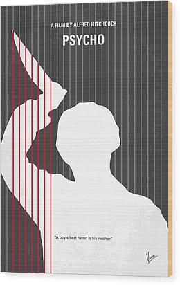 No185 My Psycho Minimal Movie Poster Wood Print by Chungkong Art