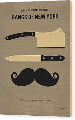 No195 My Gangs Of New York Minimal Movie Poster Wood Print by Chungkong Art
