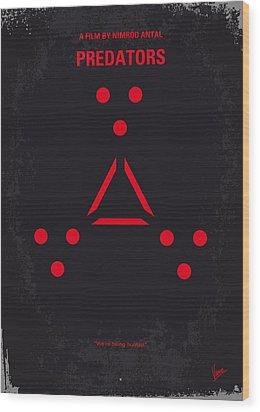 No289 My Predators Minimal Movie Poster Wood Print by Chungkong Art