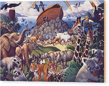 Noah's Ark Wood Print by Mia Tavonatti