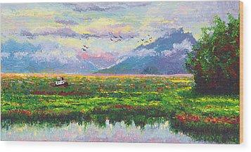 Nomad - Alaska Landscape With Joe Redington's Boat In Knik Alaska Wood Print by Talya Johnson