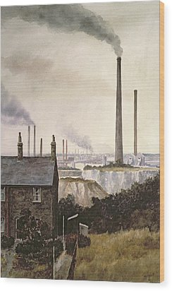 North Kent Landscape  Nr Northfleet Gravesend Wood Print by Vic Trevett