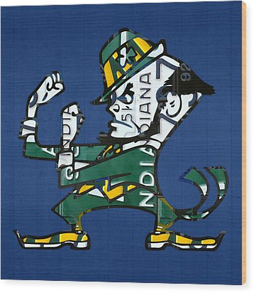 Notre Dame Fighting Irish Leprechaun Vintage Indiana License Plate Art  Wood Print by Design Turnpike