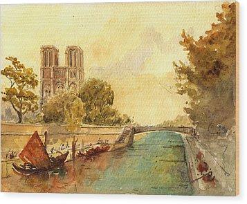 Notre Dame Paris. Wood Print by Juan  Bosco