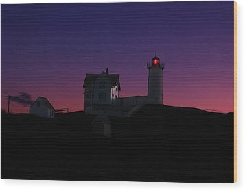 Nubble At Night Wood Print by Andrea Galiffi